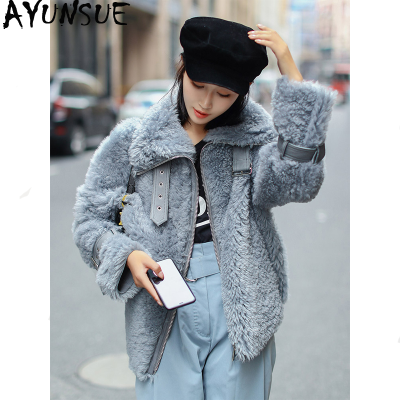 Fur Coat Jacket Sheep-Shearling Korean Natural Double-Faced Genuine-Leather Women AYUNSUE