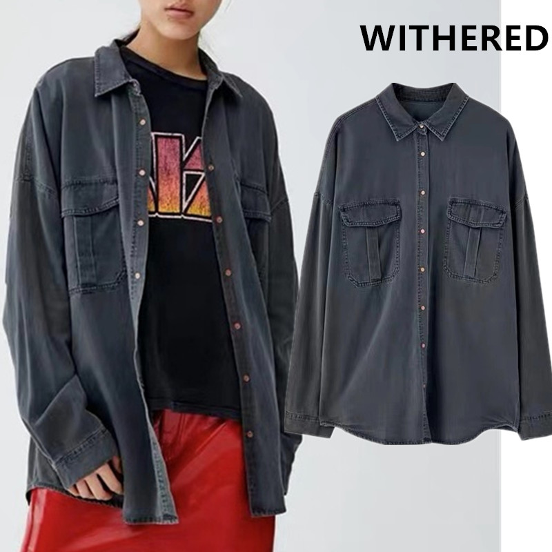 Withered 2019 england high street big pockets oversize denim blouse women blusas mujer de moda 2019 shirt womens tops and blouse