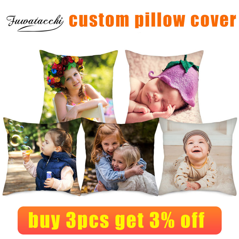 Fuwatacchi Life Photo Customization Pillow Cover Child Personal Customize Cushion Cover Linen Pillowcase Decorative Pillows 45cm