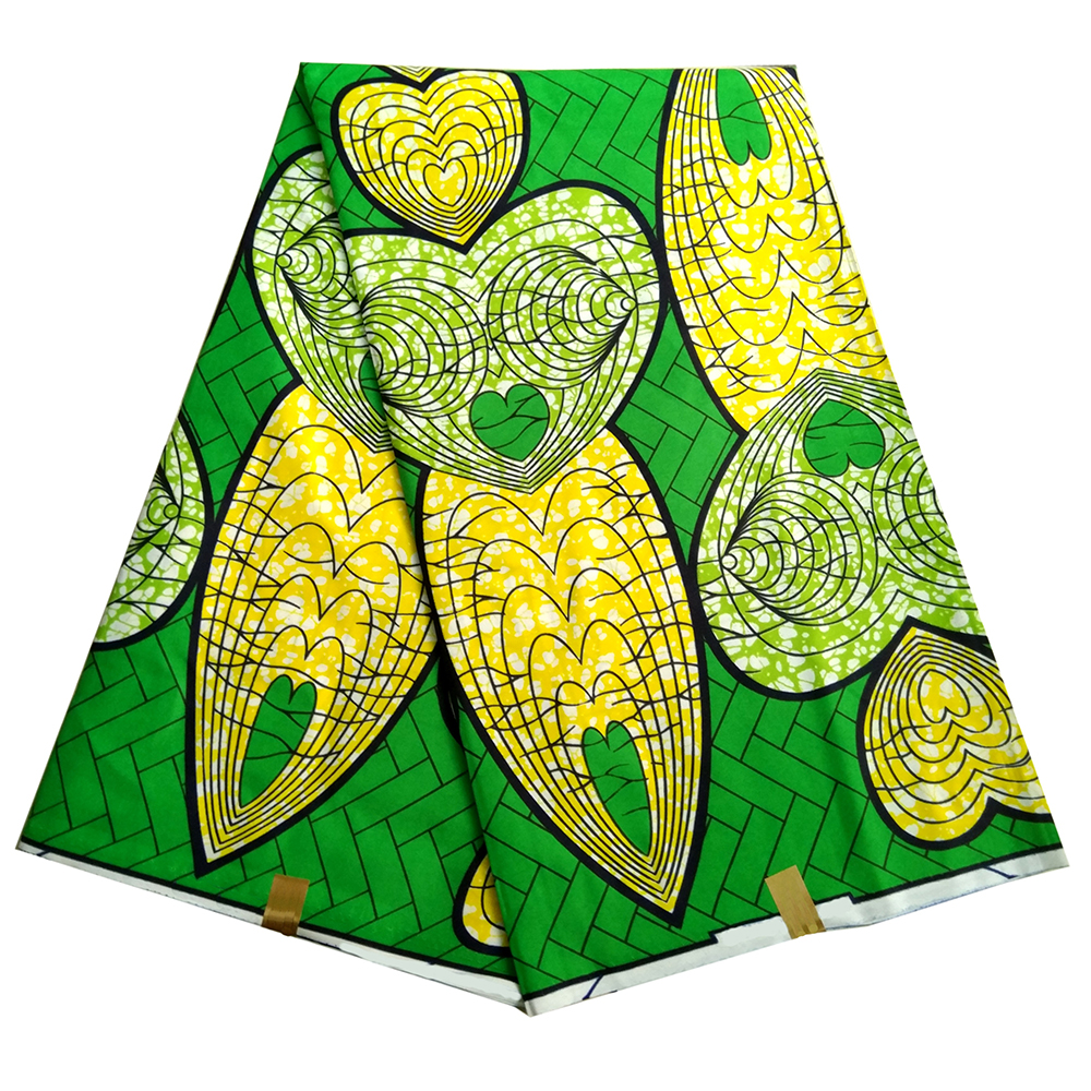 Polyester African Fabric Green Yellow Hearts Pattern Print African Print Fabric Wax