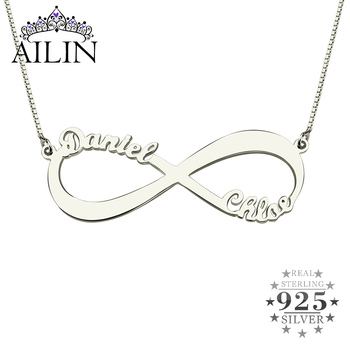 AILIN 925 Sterling Silver Infinity Custom Necklace With 2 Name Women Personalised Wedding Jewelry Box Chains Christmas Gifts