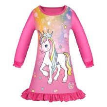 Baby Girls Dresse Unicorn Pajamas Dress Sleepwear Princess For kids Soft Material  Dresses 6310