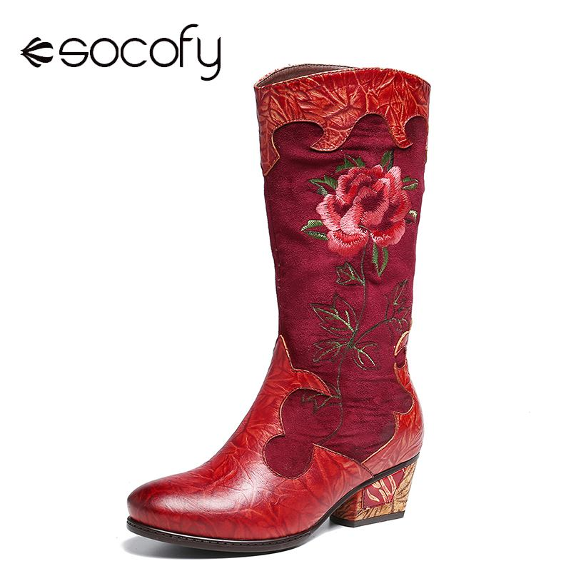 SOCOFY Retro Embroidered Boots Rose Genuine Leather Stitching Low Heel Mid Calf Boots Ladies Shoes Women Botines Mujer 2020