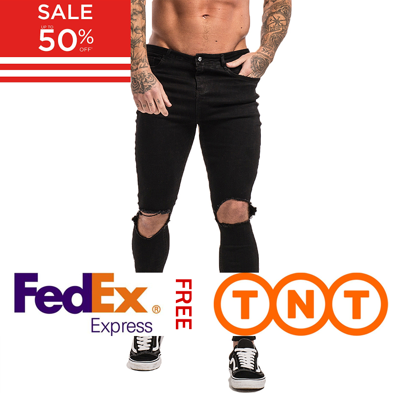 GINGTTO Black Ripped Jeans For Men Stretch Jeans Men Jeans Ankle Tight Dropshipping Supply Big Size Super Spray On Zm24