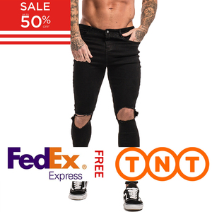 Image 1 - GINGTTO Black Ripped Jeans for Men Stretch Jeans Men Jeans Ankle Tight Dropshipping Supply Big Size Super Spray on zm24