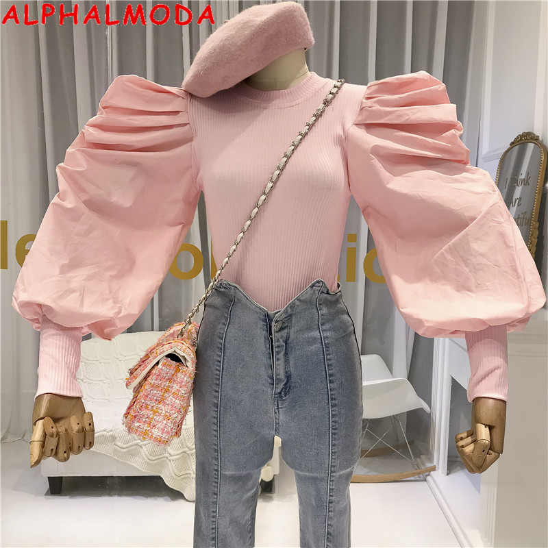 ALPHALMODA 2019 Autumn Knitted Jacket With Pleated Lantern Sleeve Women Design Personalized Sweater T-Shirts Patchwork Outfit