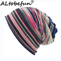 LOVINGSHA Autumn Winter Striped Design Thin Skullies Beanies Women Hats For Men Fashion Feminino Multifunction Scarf BHT109