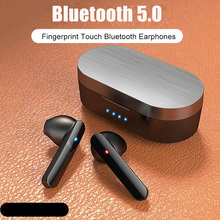 R8 TWS Fingerprint Touch Bluetooth5.0 Earphones HD Stereo bass Wireless Headphones Noise Cancelling Gaming Headset Auriculares zealot b21 bluetooth 4 0 stereo bass hifi headphones touch contorl noise cancelling portable wireless sports headphone earphones