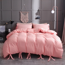 Lace up Bedding Sets White Black Pink Duvet Cover Set Solid Color Bedroom Luxury King Size Single Twin Queen Quilt No Bed Sheet