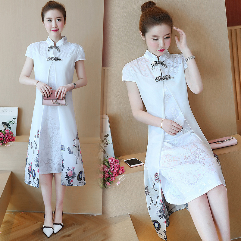 2019 New Style Summer Wear Elegant Ladies' Fashion Chinese-style Printed Comfortable Daily Life Improved Cheongsam Dress