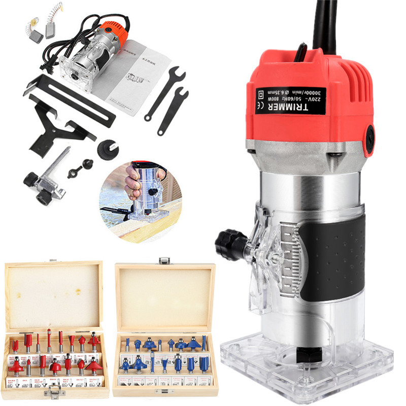 EU 220V US 110V 800W Woodworking Electric Trimmer Wood Milling Engraving Slotting Trimming Machine Hand Carving Wood Router
