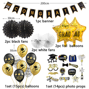 Image 2 - Graduation 2020 With Latex Balloons Hanging Congrats Banner Photo Booth Props Graduation Party Decorations Favors