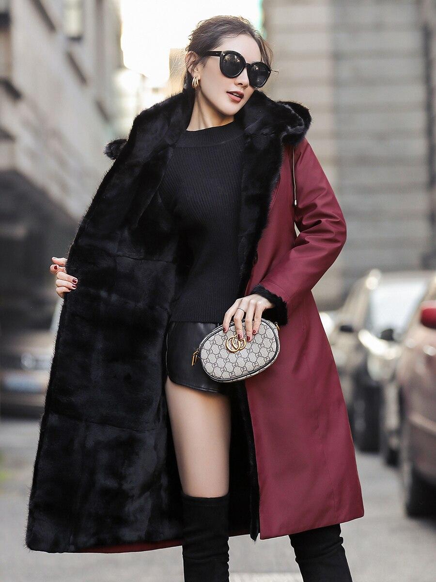 Fur Rabbit Natural Liner Parka Real Fur Coat Winter Jacket Women Mink Fur Collar Warm Long Jackets Chaqueta Mujer MY4079 S