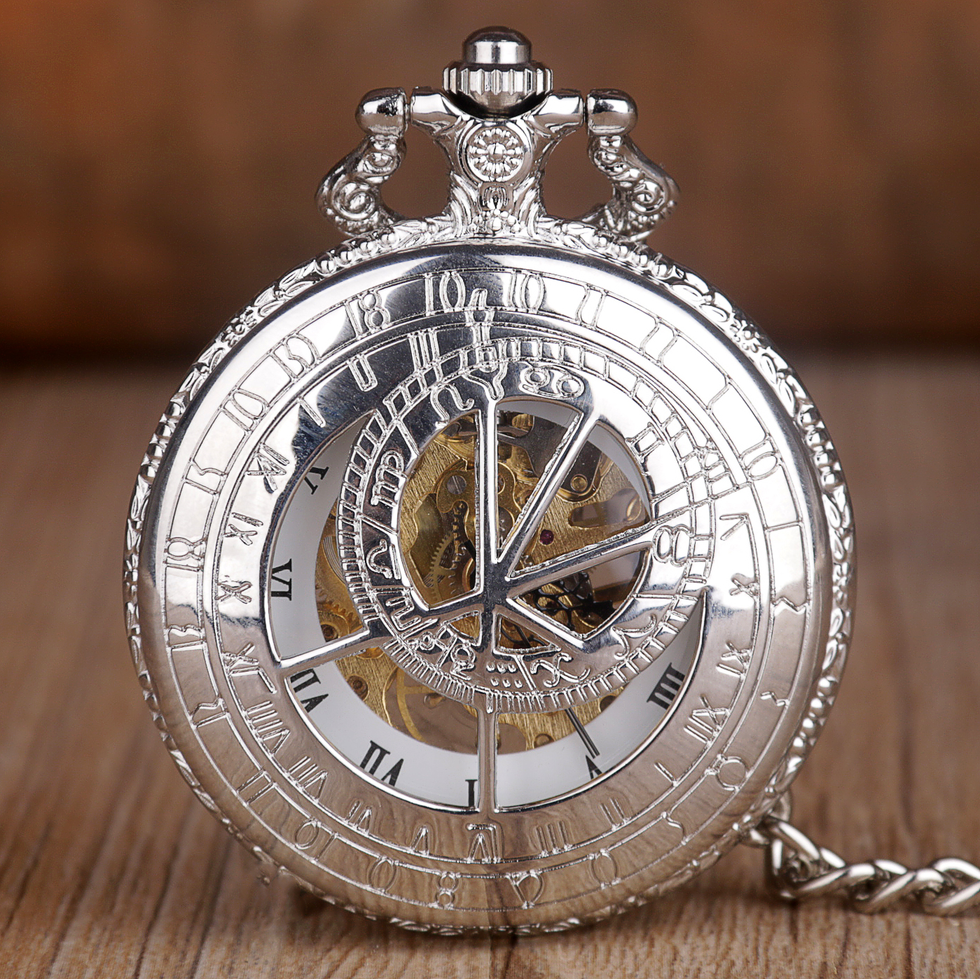 Silver Steampunk Pocket Watches Mechanical Pocket Watches Skeleton Vintage Hand Winding Pocket Fob Watch With Fob Chain