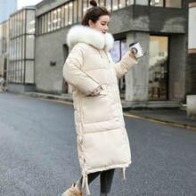 Женская зимняя пуховая куртка средней длины с меховым воротником