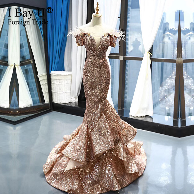 Gold Sequin Feather African Ladies Evening Gowns Small Train Off Shoulder Arabic Formal Dresses 2020 Graduation Prom Dress