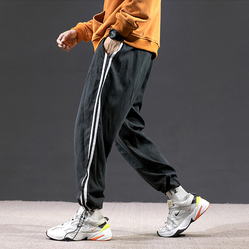Men's Sweatpants High Quality Polyester Fashion Stitching Casual Pants Elastic Waist Jogging Basketball Loose Sports Pants Male