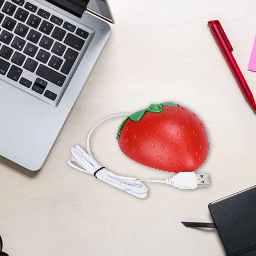 Portable Cute Mini Strawberry Wired Mouse Usb Small Fruit PC For Office Gift Computer Mouse Girl Optical Shape Mice Laptop X7O7