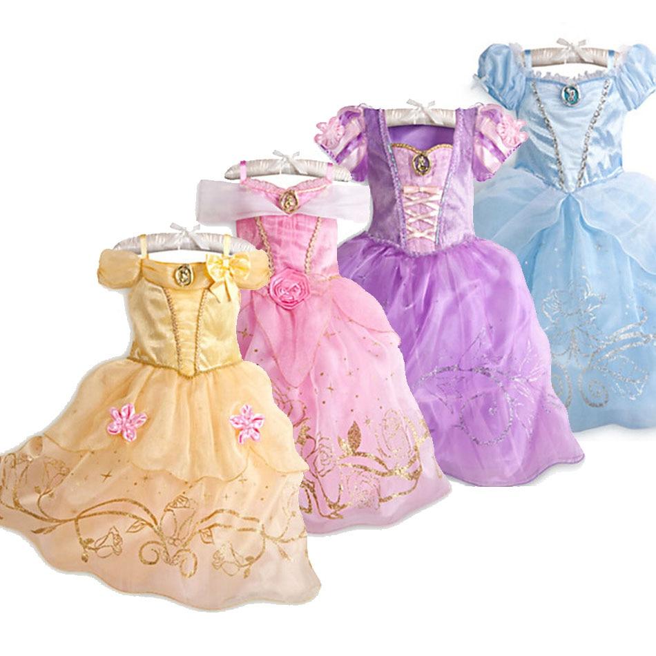 Kids Princess Dress Party Girl Summer Fancy Costume 9 Styles Children Rapunzel Belle Sleeping Beauty New Year Carnival Clothes