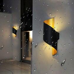 10W zewnętrzna wodoodporna lampa ścienna oprawy nowoczesne Up Down aluminiowa kinkiet Nordic korytarz korytarz balkon światła ogrodowe kinkiety|Wewnętrzne kinkiety LED|   -