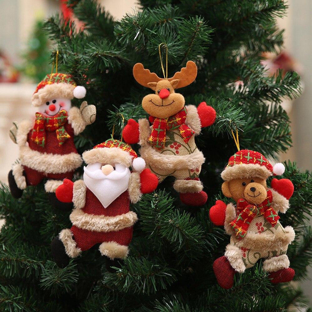 4Pcs Christmas Hang Decoration Xmas Tree Ornaments Gift Santa Claus Snowman Reindeer Toy Doll DIY Decorations
