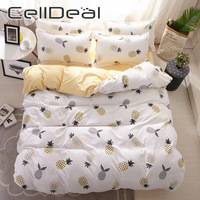 Stili multipli 3/4pcs Set biancheria da letto biancheria da letto singola Design bianco ananas confortevole Queen Twin tessili per la casa stile carino Oceania
