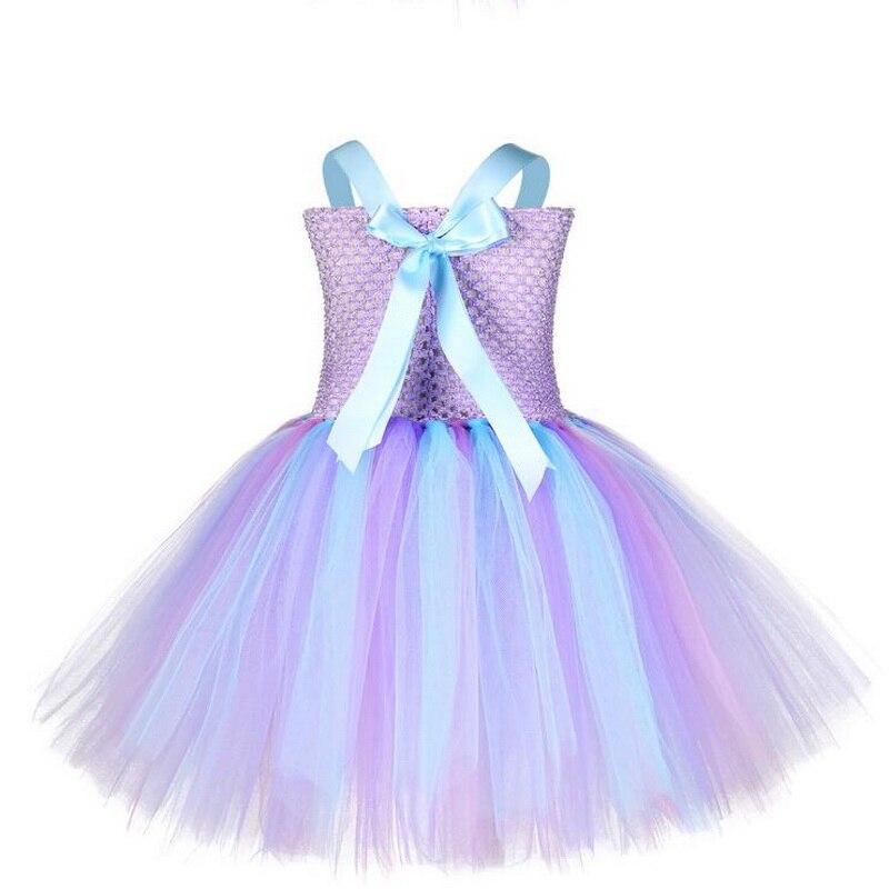 Купить с кэшбэком Kids Halloween Costume Mermaid Princess Tutu Dress with Headband 2019 New Blue Purple The Sea Shell Tulle Girl Fancy Party Dress