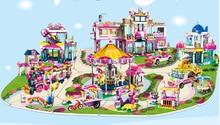 Girl Princess Castle coach yacht City fast food car Marine Museum Villa Models Building Kits Blocks Toys Hobby Hobbies For Girls