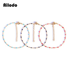 Ailodo Gold Slim Stainless Steel Bracelet Colorful Link Chain Thin Charm Bracelets For Women Fashion Girls Jewelry LD397