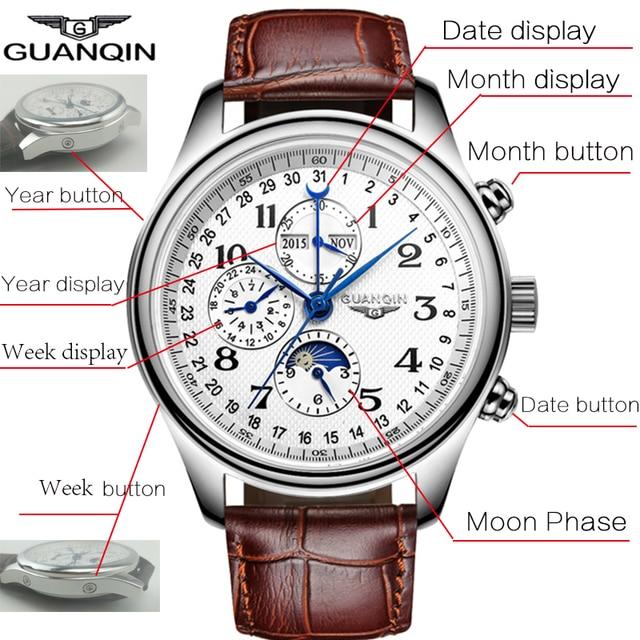 GUANQIN Luxury Casual Waterproof Genuine Leather Mechanical Wrist Watch 5