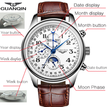 GUANQIN Mens Watches Top Brand Luxury Automatic Date Men Casual Fashion Clock Waterproof Genuine Leather Mechanical Wrist Watch