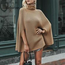 Turtleneck oversize knitted sweaters pullover 2019 Casual loose autumn Women black winter jumper female poncho