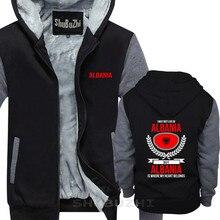 כותנה חדשה אופנה חורף סתיו אלבניה, הלב שלי שייך אלבניה המדינה אהבה הסווטשרט העליון מזדמן עבה מעיל sbz5535