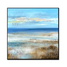 Blue Sky And Ocean In The Heart Of Yearning Oil Painting On Canvas Wall Art Wall Painting For Live Room Home Decoration Unframe(China)