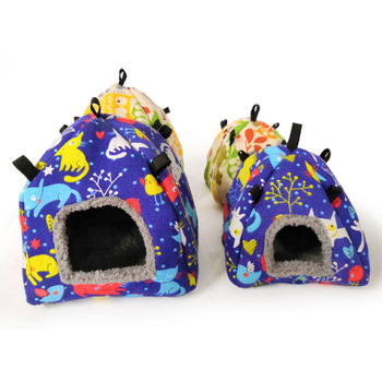 Color Random Warm Cotton Tent Shape Small Pet Squirrel Parrot Sugar Glider Hanging Cage Hamster Cage Bed House Hedgehog Nest Toy