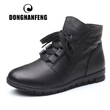DONGNANFENG Womens Genuine Leather Female Ladies Woman Shoes Boots Lace Up Plush Fur Warm Winter Autumn Ankle 35 41 GP KMM001
