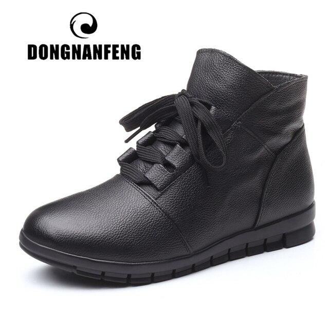 DONGNANFENG المرأة جلد طبيعي الإناث السيدات امرأة الأحذية الأحذية الدانتيل يصل أفخم الفراء الدافئة الشتاء الخريف الكاحل 35  41 GP KMM001