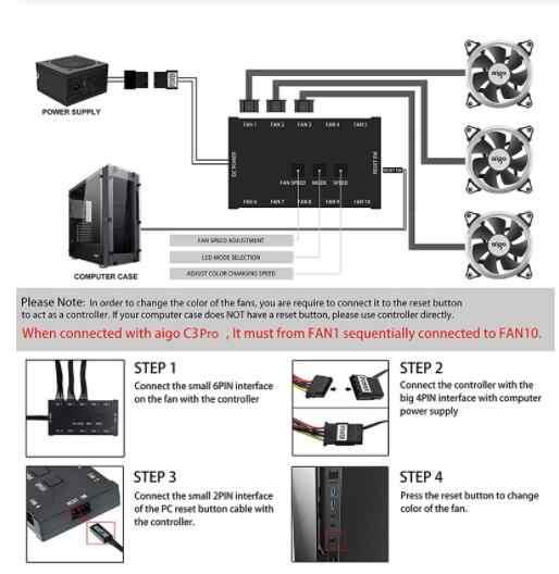 Aigo C5 aura sync 3 P-5 V funda para ordenador ventilador de refrigeración RGB ajuste LED 140mm silencioso IR remoto enfriador de ordenador refrigeración RGB carcasa ventilador