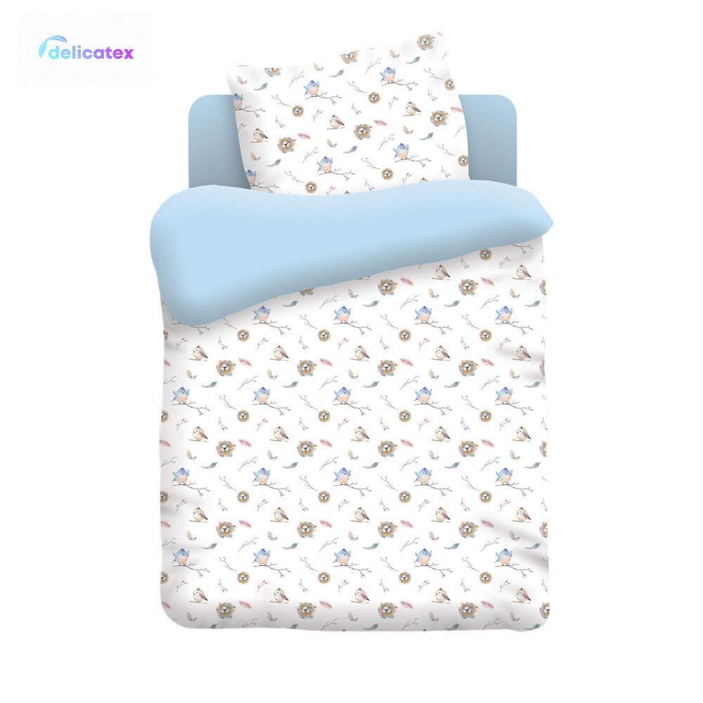 Bedding Sets Delicatex 8896-1+goluboy Ptentsyi Home Textile Bed Sheets Linen Cushion Covers Duvet Cover Рillowcase Baby Bumpers Sets For Children Cotton