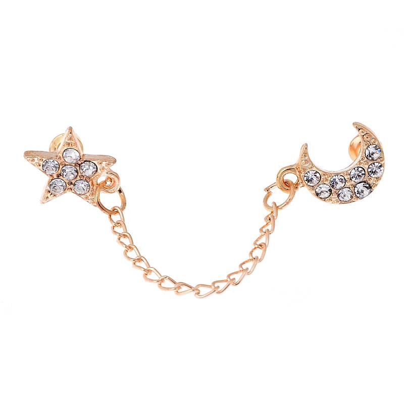 Vintage Two Piercing One Side Golden Chain Crystal Rhinestone Moon Star Ear Cuff For Double Hole Earring Jewelry in Clip Earrings from Jewelry Accessories