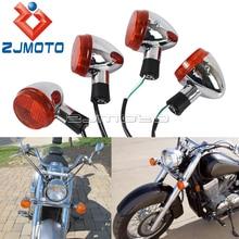 Dianteiro & traseiro da motocicleta emark sinais de volta para honda shadow 400 750 vt750 2004 2007 indicadores de volta âmbar luz pisca