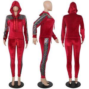 Image 5 - HAOYUANฤดูใบไม้ร่วงฤดูหนาวชุดกำมะหยี่2ชิ้นชุดชุดสตรีSweatsuit Sequin Hoodie Tops + กางเกงชุดสูทเหงื่อการจับคู่Velour Tracksuit