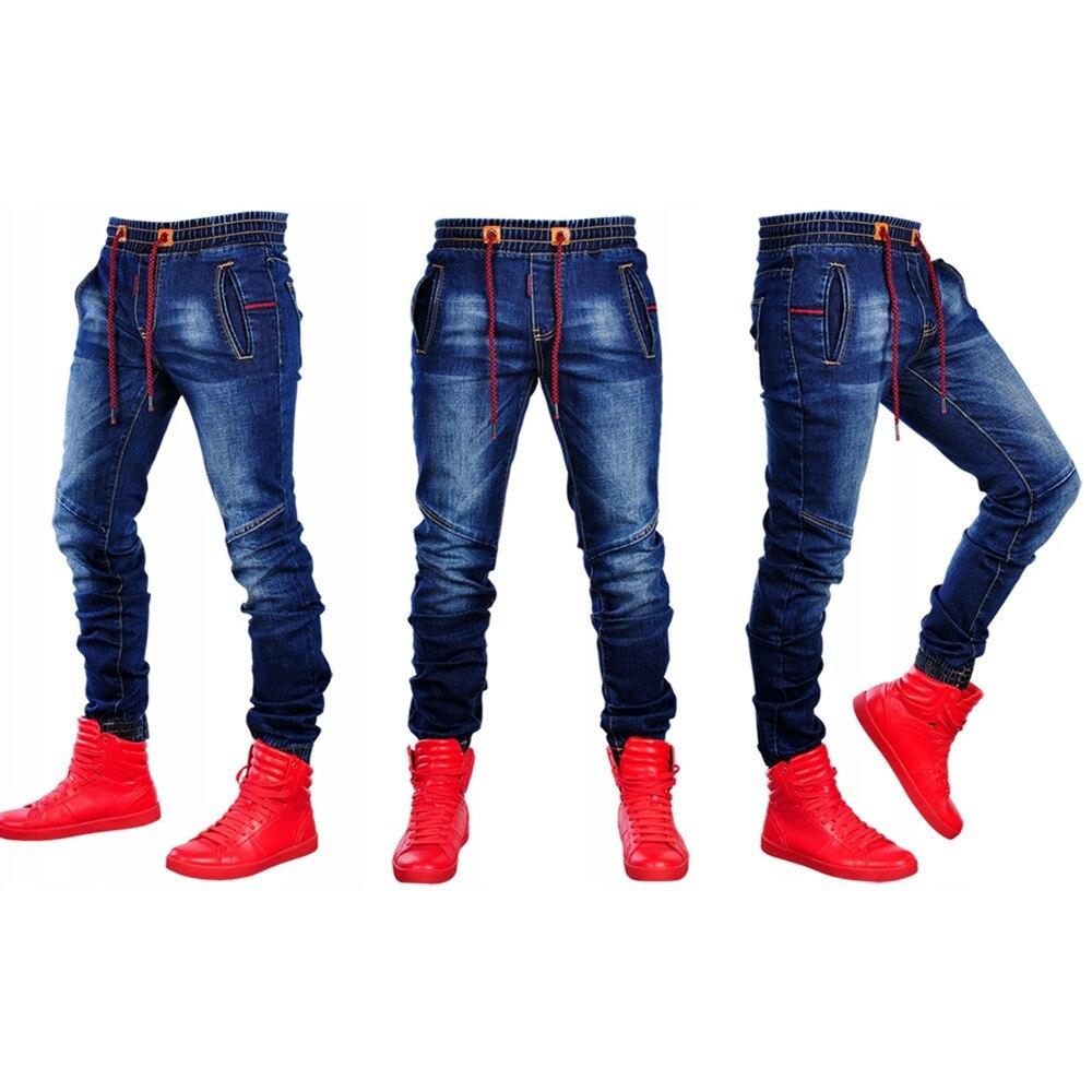 2020 Men's Scratched Stretchy Ripped Skinny Biker Jeans Slim Fit Denim Pants Mens Elastic Waist Harem Pants Men Jogger