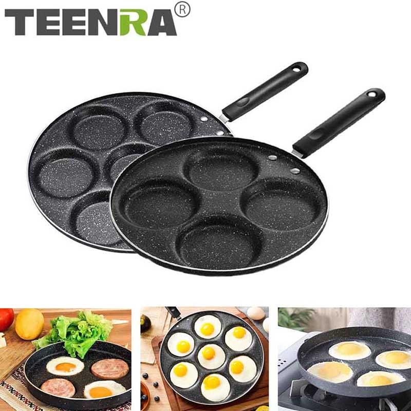 Сковорода для жарки TEENRA с четырьмя отверстиями, утолщенная, с антипригарным покрытием, сковорода для блинов, стейков, приготовления яиц, вет...