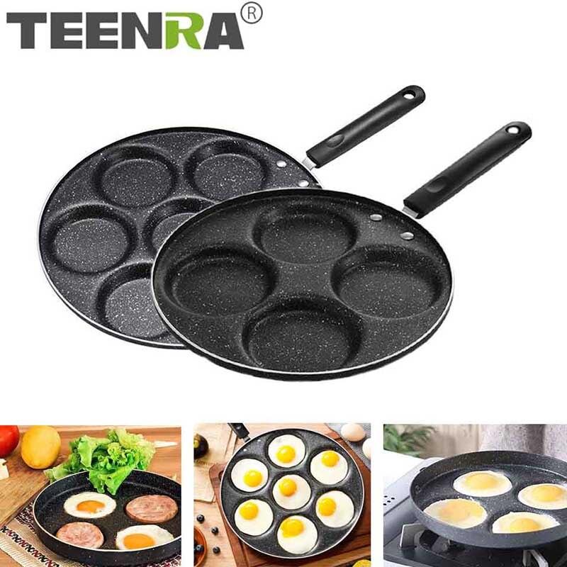 Teenra quatro buracos frigideira engrossado omelete pan antiaderente ovo panqueca bife pan cozinhar ovo presunto panelas fabricante de café da manhã