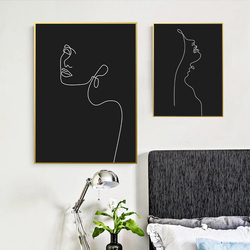 Abstract Woman Face One Line Drawing Painting Modern Poster Canvas Print Black and White Minimalist Wall Art Pictures Home Decor