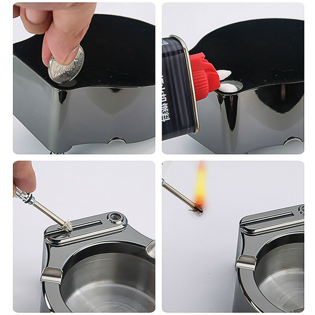 Retro Metal ash jar Ten Thousand Match Lighter  5