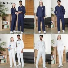 Hospital men's and women's long-sleeved uniform shoulder button surgical gown scrub top+pants clinic nurse overalls dentist suit
