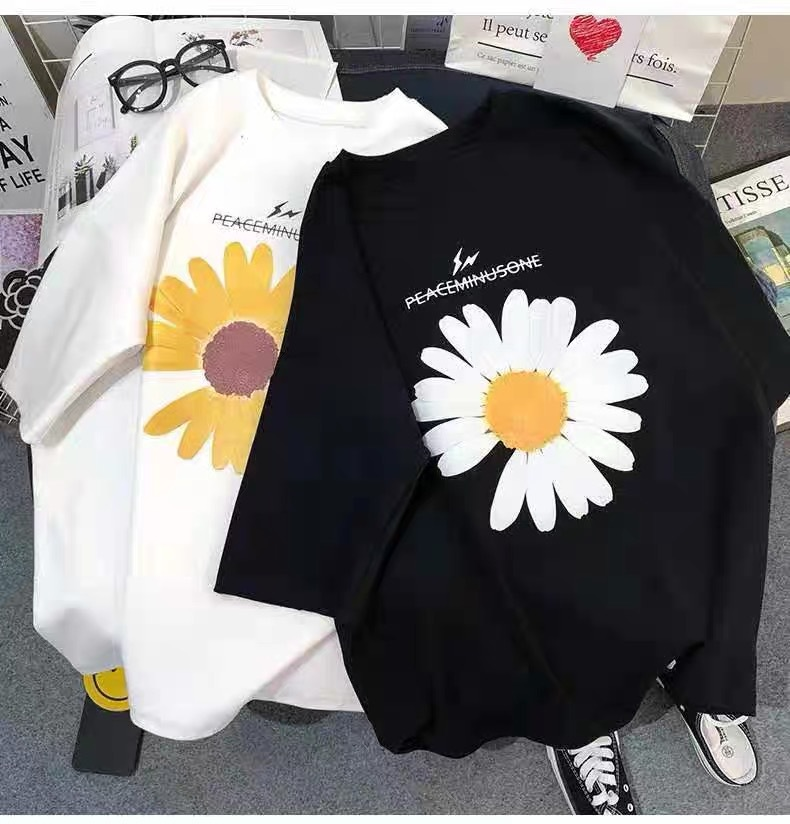 Daisy Print Short-sleeved T-shirt Female 2020 Early Spring And Summer Korean Version Of Loose White Ins Tide Shirt Student