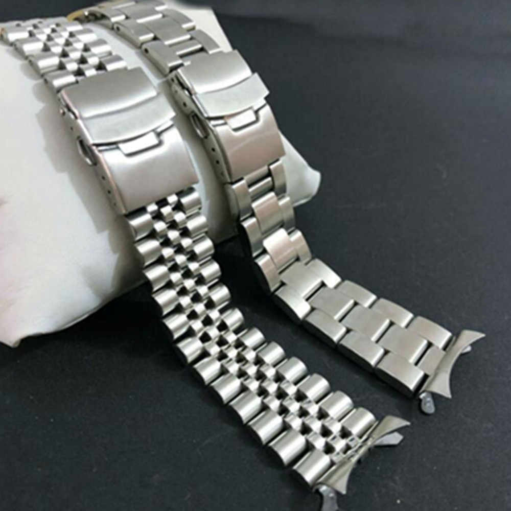 20 22mm Stainless Steel Watchband Curved End Strap Fold Buckle Clasp Wrist Belt Bracelet Silver For Seiko Watch Accessories